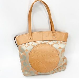 Coach Laura peach logo leather fabric print tote